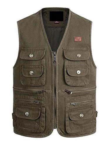 BingSai Herren Outdoor Baumwolle Reißverschluss Multi Taschen Angeln Foto Journalist Westen Gr. US XL, 1