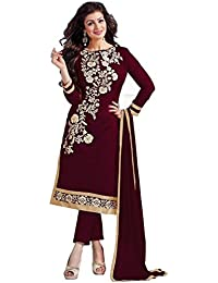 Radhey ArtsNew Designer Maroon Embroidered Chanderi Cotton Dress Material With Matching Dupatta