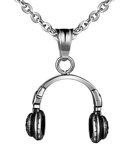 feilok Acero Inoxidable Colgante Fashion Auriculares música símbolo Collar Collar colgante para hombre