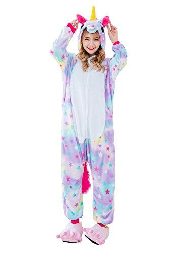 cooshional Erwachsene Einhorn Pyjama Onesie Tier Jumpsuits Nachthemd Nachtwäsche Mädchen Overall Sleepwear Hausanzug