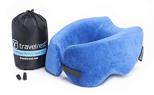 Travelrest - Cuscino da viaggio in schiuma memory - Ergonomico, innovativo - Il MIGLIOR cuscino per riposare in aereo, in macchina, in bus, in treno, per la siesta in ufficio, in campeggio, per sedia a rotelle o per la casa