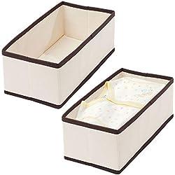 mDesign Corbeille de Rangement en propylène (Lot de 4) - Module de Rangement rectangulaire pour Soutiens-Gorges, sous-vêtements, Chaussettes, etc. - Box de Stockage pour Jouets - crème/Brun