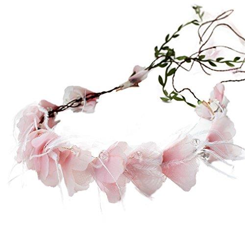YAZILIND flor guirnalda de hilados rosa flor de ratán guirnalda de novia diadema para bodas festivales turismo