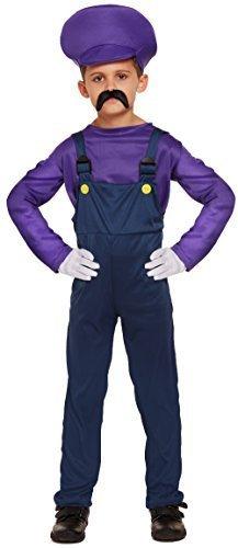 Jungen Kinder Mario oder Luigi Klempner 1980s Buch Tag Halloween Kostüm Kleid Outfit 4-12 jahre - Lila, 10-12 Years (Klempner Kostüm Für Kinder)
