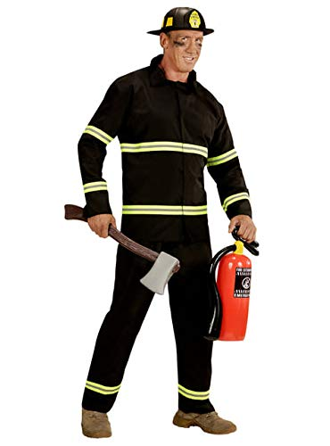 Widmann wdm03944-Kostüm für Erwachsene Feuerwehrmann, schwarz, (Für Erwachsene Schwarz Feuerwehrmann Kostüm)
