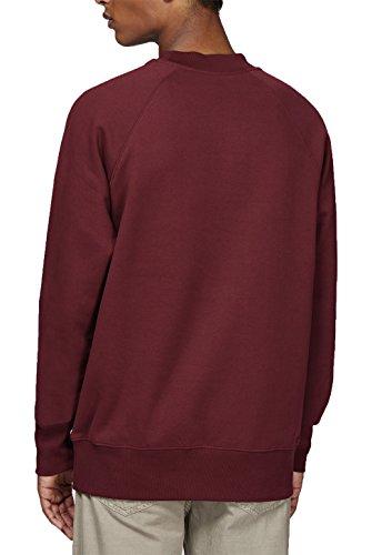 Herren Sweatshirt aus 100% Biobaumwolle mit hohem Halsabschluss, weites Herren Bio Pullover, Herren Sweater aus Baumwolle (Bio), Basic Pullover Organic Cotton Burgunderrot