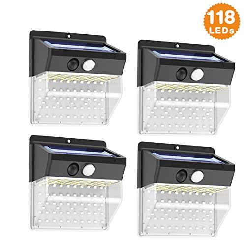 Luce Solare Led Esterno, 118 LED Lampada Solare con Sensore di Movimento 270º Luci Solari da Parete Impermeabile 3 Modalità Lampade Solari di Sicurezza per Giardino, Vialetto, 4 Pezzi