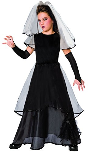 ,Karneval-Klamotten' Kostüm Gothic Braut Kind Mädchen Halloweenkostüm gruseliges Horror Brautkleid inkl. Schleier + Handschuhe 128 (Kinder Kostüm Halloween Braut Für)