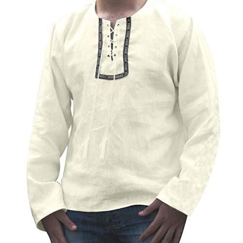 Mymyguoe Hombres Camiseta de algodón de Manga Larga con Estampado de Lino...