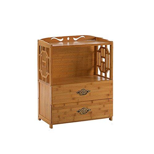 Bibliothèque Sexy 2-Tier Simple Bamboo Tiroir Simple Combinaison Moderne Étagère Salon Solide Bois Étagère (Taille : 52 * 29 * 70cm)