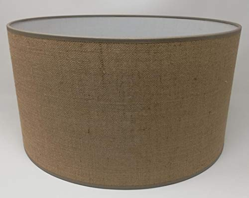 Lampenschirm Zylinderform Jute Sackleinen Creme Stoff Handmade verschiedene Größen Decke Anhänger - Tisch (50 cm Durchmesser 30 cm Höhe) (Sackleinen-anhänger-beleuchtung)