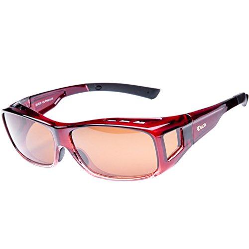 Duco Herren und Damen Sonnenbrillen Polarisiert Unisex Brille Überbrille für Brillenträger Fit-over Polbrille 8953 L - Wein Rot, Braun