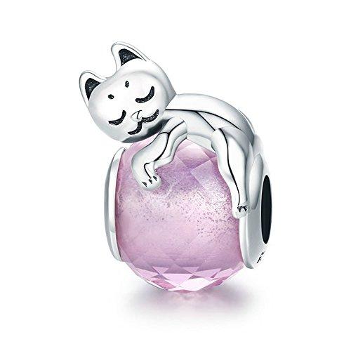 Ciondolo a perlina con gatto rosa, in argento sterling 925 autentico al 100%, pietra grande, adatto per braccialetto da donna, gioielli di perline fai-da-te, numero articolo: scc447.