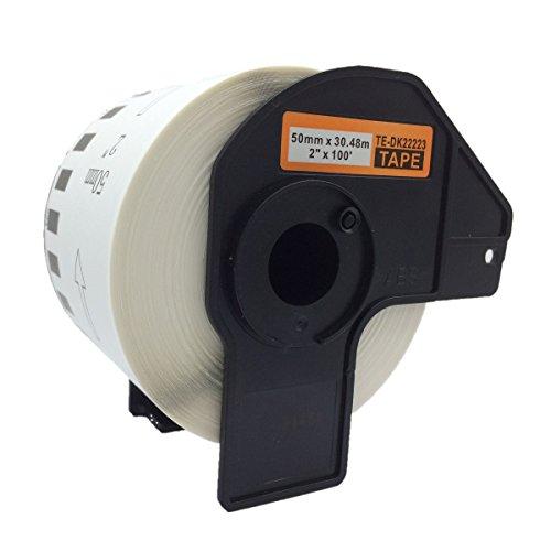 Azprint 1 x Kompatibel Brother DK22223 DK-22223 Endlosetiketten Papier für Brother P Touch QL-Etikettendrucker QL500 QL550 QL560 QL570 QL580N QL650TD QL700 QL720NW QL1050 QL1060N / 50mm breit, 30,48m lang, Thermopapier mit Kunststoffhalter