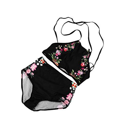 HOTstar Damen Bikini Set Bademode Push-Up Gepolsterter BH-Badeanzug Beachwear L(Schwarz,Large)