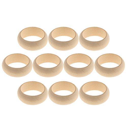 MagiDeal Holz-Ring DIY Schmuck Machen Ergebnisse, Modeschmuck Ring Satz für unisex Zubehör, Holz Ringe Hölzern Ringe für Handwerk, Ring Anhänger und Anschlussstück Schmuck basteln - Gelb