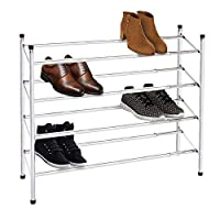 Knight 2 Tier/ 3 Tier/ 4 Tier Shoe Rack Extendable & Stackable Chrome Finish