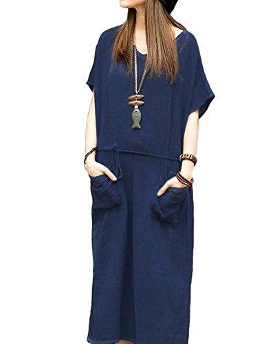 Romacci Damen Übergroße Retro Casual Lose Langes Kleid Baumwolle Leinen Solide Kurzarm Knöchellang Kleid (Leinen-baumwoll-kleid)