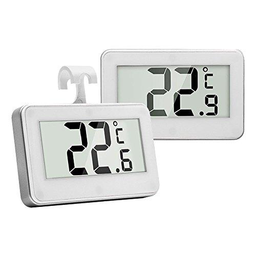2 Stück LCD Digital Kühlschrank Thermometer, Indoor Thermometer, Kühlschrank Temperatur Monitor mit weißem Haken, Geeignet für Küche, Coffee Bar