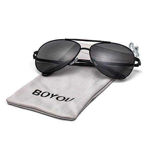 BOYOU Vintage Style Aviator Sonnenbrille mit UV400 Schutz (Herren-kleines Licht)