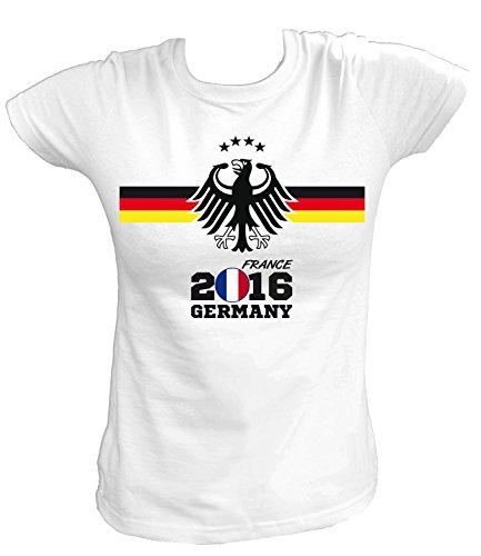 Artdiktat Damen Deutschland Fan T-Shirt - EM 2016 Frankreich - Trikot Ersatz - inkl. Wunschname und Nummer XS - 5XL Größe M, weiß