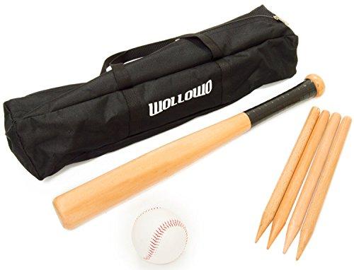 Wollowo Rounders-/Baseball-Set für draußen - Schläger, Ball und Holzpflöcke -