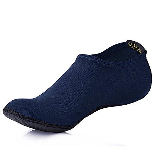 SITAILE Sommer Aqua Schuhe Barfuß Weich Wassersport Yoga Schuhe Strandschuhe Schwimmschuhe Surfschuhe für Damen Herren Erwachsene,B,blau,Erwachsene3XL