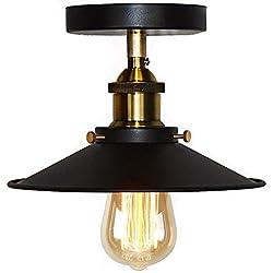 Huahan Haituo plafond lumière moderne Vintage industriel métal noir Bronze Loft Bar plafond Light Shade pendentif rétro Light(StyleA, noir)