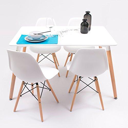 Conjunto de Comedor Tower con Mesa lacada Blanca y 4 sillas, de diseño nórdico (120x80, Blanco)