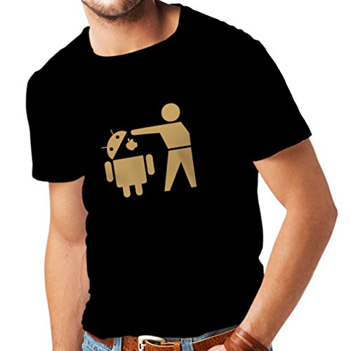 Maglietta da uomo Robot Android divertente - regalo per gli appassionati di tecnologia Nero Oro