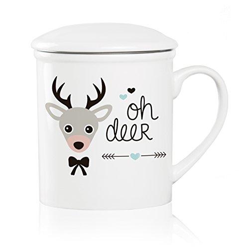 We Love Home - Tasse à thé en porcelaine avec infuseur en acier inoxydable + couvercle 25 cl. style scandinave design Oh Deer