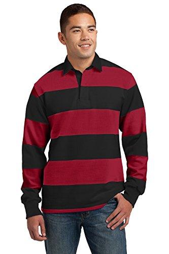 Sport Tek Herren Schwergewicht Rugby Polo Shirt Black/ Deep Orange