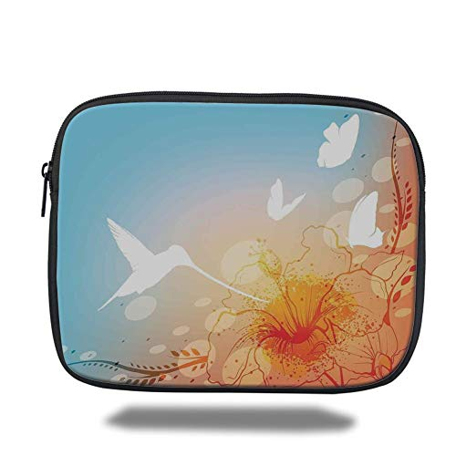Laptop Sleeve Case,Hummingbirds Decorations,Hummingbird and Butterflies Silhouettes Flowers Fun Summertime Garden,Tablet Bag for Ipad air 2/3/4/mini 9.7 inch