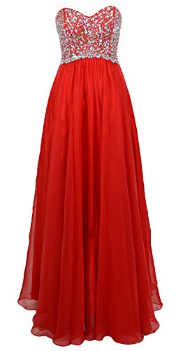 MACloth Elegant Strapless Long Prom Dress Crystals Wedding Party Evening Gown red