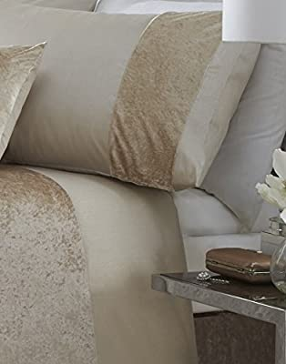 Boulevard Crushed Velvet Cream Quilt Duvet Cover Bedding Set - inexpensive UK light shop.