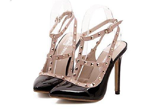 Wealsex damen stiletto sandalen Nieten spitze Absätze Schwarz Beige