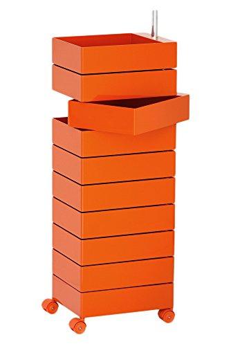 Magis Boîte de Rangement à 360 pour Le Bureau en ABS Brillant, Métal Plastique, Orange, 10 Drawers