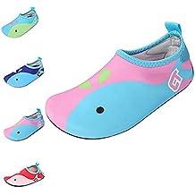 ECOTISH Zapatos Agua de Natación Infantil para Niños Niñas Slip on Suave Zapatillas Deportivos Acuático para Playa Piscina Zapatos de Piel Aqua Shoes - Rosa Azul Amarillo (Rosado, 26-27EU)