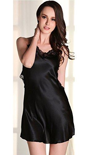 KE1AIP Damen Satin Spitze Sommer Sexy Halter Kreuz Schultergurt Schlafanzug Hollow Mini Kleid Nachthemd Black