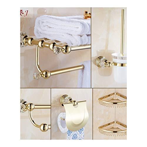 Joeesun Anwendbar auf europäischen Kristallhandtuchhalter Handtuchhalter-Set Gold Badezimmerhalter Badzubehör Anhänger Gold Kristall J Abschnitt - Bad + Doppel + Pferd + Papier + Winkelrahmen -