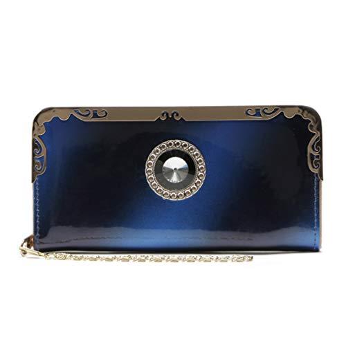LIXIAQ1 Vintage Runde Geschnitzte Brieftasche mit Strass Kartenhalter Reißverschluss Geldbörse tragbare Kette Lanyard Clutch Handtasche, blau