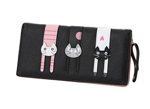 Ylen Lange Reißverschluss Brieftasche Geldbörse für Damen Süß Karikatur Katzen Geldbeutel Kartenhalter Handtasche Geldbörse Katze