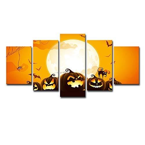 Wandmalerei, 5 Wandkunst Halloween Cartoon Kürbis Landschaft Wandbild für Wohnzimmer Kinderzimmer Leinwand Wandkunst Cartoon,B,S