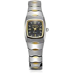 BINLUN Rectangle Ladies Watches Waterproof Quartz Tungsten Watch with 18K Gold Plated Bracelet for Women