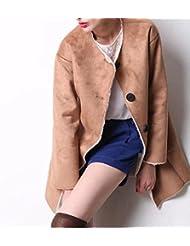 ZQQ Señora en otoño e invierno en Europa y América t largo estilo lana cordero abrigo del color sólido grueso algodón chaqueta de piel , khaki , l
