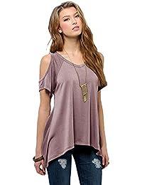 Mujeres del verano del hombro de la camiseta de manga corta ocasional del estiramiento de la camiseta