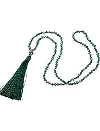 KELITCH Largo Cristal Bead Cadena Collar con Buda Cabeza Borla Colgante