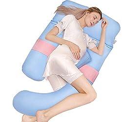 HBselect Schwangerschaftskissen 4 Teile für den ganzen Körper U-förmiges Seitenschläferkissen Lagerungskissen Kuschelkissen mit abnehmbarem waschbarem Bezug (Baumwolle; Blau&Rosa, 150 x 75)