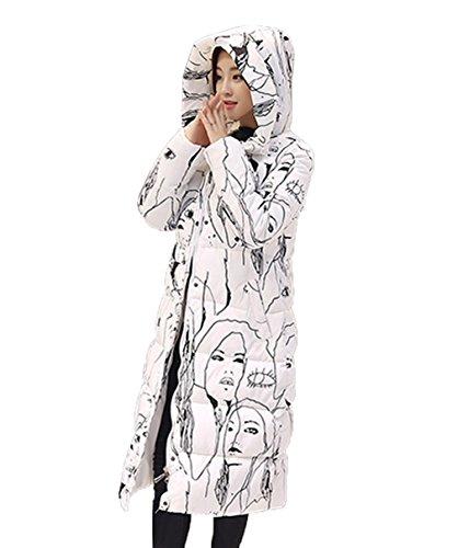 Smile YKK Manteau Long Femme Veste Capuche Automne Hiver Manche Longue Blouson Casual Blanc