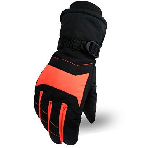 Uomini Donne snowboard guanti moto invernali Sci Arrampicata impermeabili Guanti neve Orange 3 L